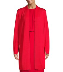 lafayette 148 new york women's wool & silk tie-neck cardigan - red currant - size xl