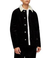 men's topman borg faux fleece lined corduroy chore jacket