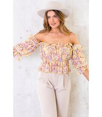 crop off shoulder top floral geel