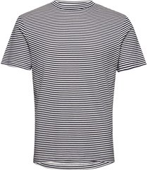 slhmartin stripe ss high neck tee b t-shirts short-sleeved svart selected homme