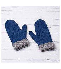 100% alpaca reversible mittens, 'striking contrast in azure' (peru)