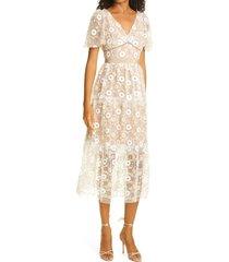 women's self-portrait sequin floral tiered tulle midi dress