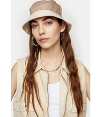 mink contrast nylon bucket hat - mink