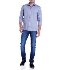 camisa dudalina jacquard fio tinto masculina (azul medio, 6)