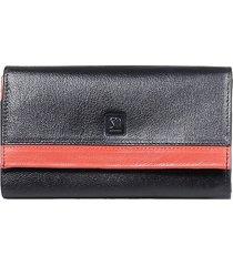 czarno czerwony skórzany portfel