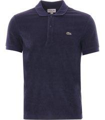 lacoste cotton fleece blend regular fit polo shirt | navy| ph5474-166