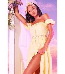 geweven gelaagde maxi-jurk met knopen aan de voorkant, citroen