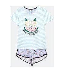 pijama manga curta listrado estampa fruitelicious com short | lov | multicores | gg