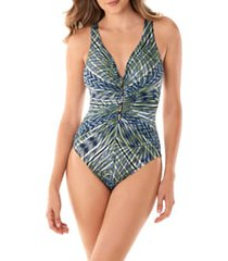 women's miraclesuit monteverde charmer one-piece swimsuit, size 10 - green