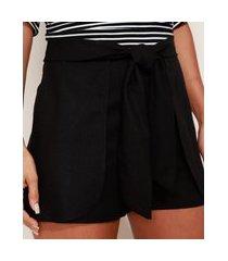 short de linho feminino cintura alta alfaiatado com sobreposição e amarração preto