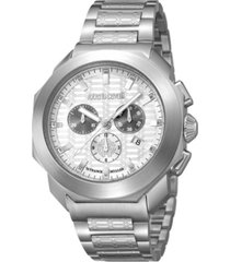 roberto cavalli by franck muller men's swiss chronograph silver stainless steel bracelet watch, 44mm