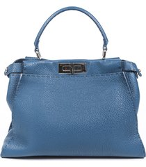 fendi regular peekaboo selleria leather satchel