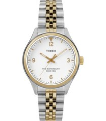 timex waterbury traditional 34mm stainless steel two-tone bracelet watch