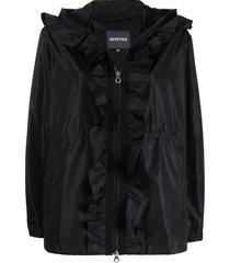 duvetica ruffled zip-up hooded jacket - black