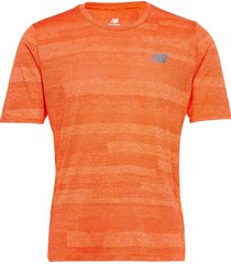 q speed fuel jacquard ss t-shirts short-sleeved orange new balance