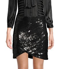 fidela faux wrap sequined skirt