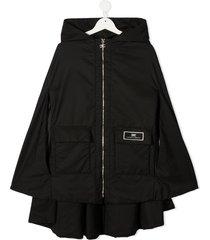 elisabetta franchi la mia bambina teen zipped hooded cape - black