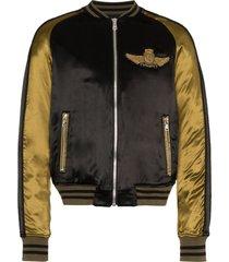 balmain logo beaded embellished satin bomber jacket - black
