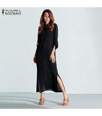 zanzea más el tamaño de la moda de manga larga vestidos mujer primavera otoño de split atractivo del vestido ocasional del cuello de o lino vestido sólido maxi largo -negro