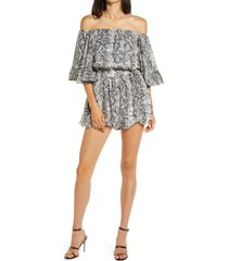 women's endless rose off the shoulder ruffle sleeve romper, size large - beige