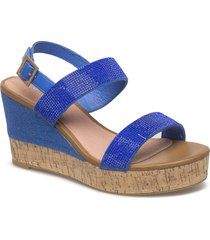 womens sandal sandalette med klack espadrilles blå ilse jacobsen