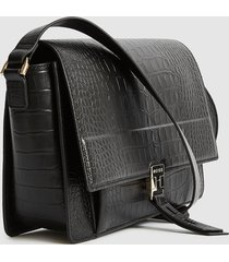 reiss madison croc - embossed croc leather shoulder bag in black, womens