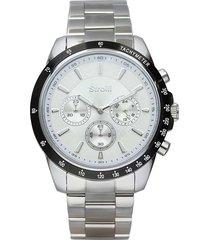 orologio cronografo con cinturino e cassa in acciaio silver per uomo