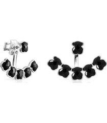 pendientes cortos mini onix plata con seis osos ónix negro tous
