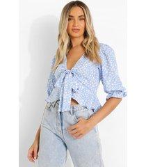 bloemenpatroon blouse met ruches, blue