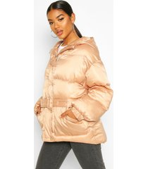 satin belted puffer jacket, nude