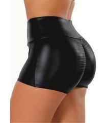 shorts de cuero de pu de cintura alta