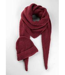 scialle e berretto in maglia sostenibili (set 2 pezzi) (rosso) - bpc bonprix collection