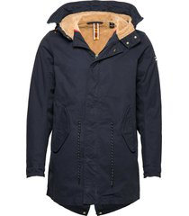 classic hooded parka with teddy and mesh lining parka jas blauw scotch & soda