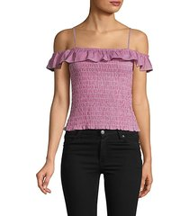 smocked ruffle cotton cropped top
