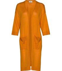 elina-ki stickad tröja cardigan orange free/quent