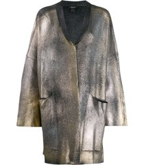 avant toi coated metallic cardigan - grey