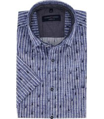 korte mouwen overhemd casual fit donkerblauw