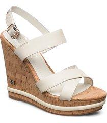 corp leather wedge sandal sandalette med klack espadrilles creme tommy hilfiger