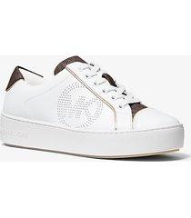 mk sneaker kirby in pelle - bianco ottico/marrone (marrone) - michael kors