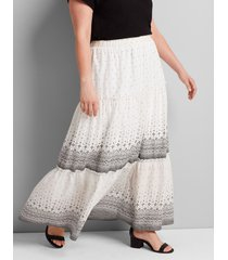 lane bryant women's printed tiered-seam maxi skirt 14/16 border print