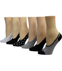 betsey johnson ladies foot liner socks, pack of 6