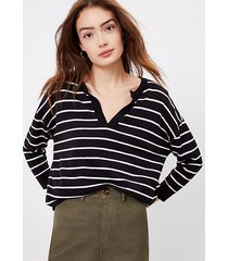 loft petite striped split neck tunic sweater