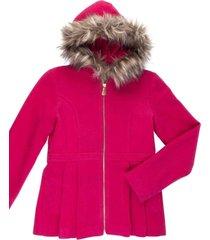 casaco lã capuz removível gingga baby e kids pink