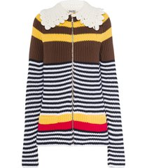 miu miu striped zip-up cardigan - brown