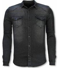 biker denim shirt - slim fit ribbel stonewashed