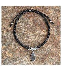 sterling silver charm bracelet, 'sleek teardrop' (thailand)