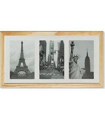 porta retrato em madeira multifoto slide cerejeira 3 fotos