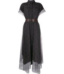 brunello cucinelli sheer shirt dress - black