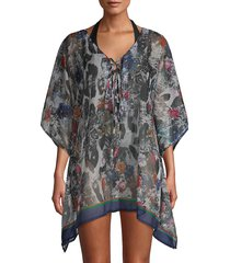 lulla collection by bindya women's printed lace-up coverup - black multi