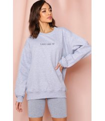 lady like af slogan oversized sweatshirt, grey